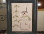UNFRAMED Snowman Primitive Picture Stitchery Country Christmas Gift Idea Snowmen Winter Snowflakes Snow Decoration House Stitch wvluckygirl