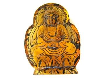 Vintage Amber  Doublesided Buddha Netsuke,signed by artist