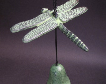 Vintage Japanese  Figural Green Dragonfly Bell/Chime