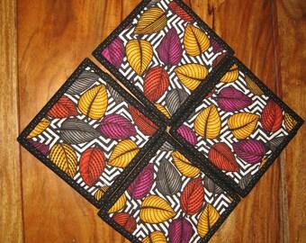 Fall Autumn Leaf coasters, Black and White, Contemporary, Purple Gold Orange Yellow, Fabric Coasters, Table Mats, Mug Rug, Fall Leaf Coaster