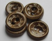 Gentle Brown Patterned Ceramic Buttons