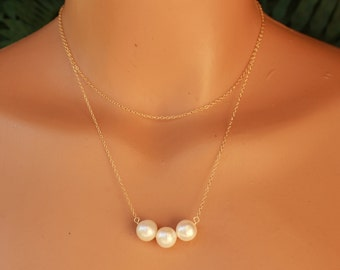 Freshwater Pearl Necklace, Multi Chain Necklace. Pearl Layering Chain Necklace, Pearl Bar, Gemstone Necklace, Dainty Necklace, Minimalist