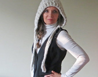 Crochet Pixie Hat PATTERN, Crochet Hood, Crochet Hat Pattern, Womens Hoodie, Made in Canada