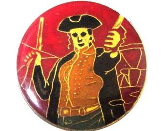 vintage PIRATE enamel pin lapel Caribbean Rum sword gun