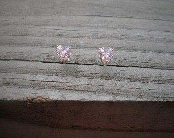 Faceted Pink Cubic Zirconia Heart Stud Earrings 6mm