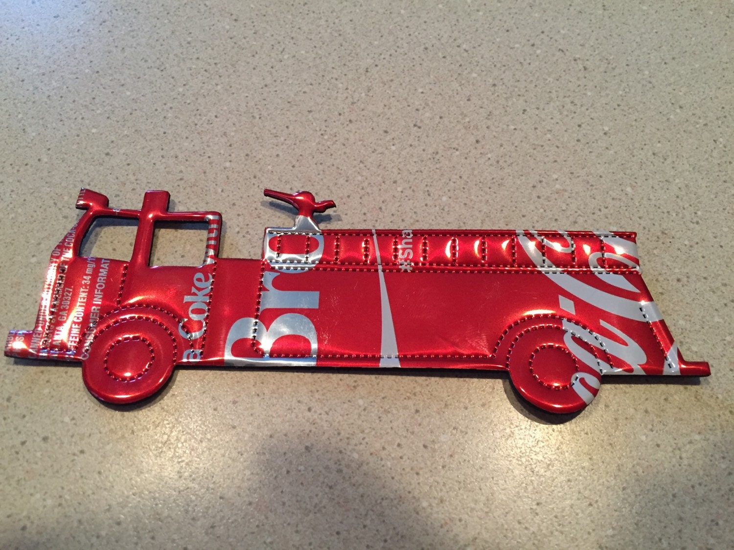 Personalized firefighter ornaments - Fire Truck Fire Fighter Fire Man Christmas Ornament Recycled Soda Can Art Made From