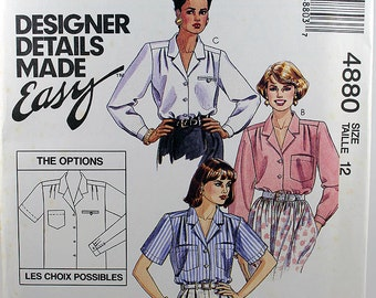 McCall's 4880, Misses' Blouse Pattern, 3 Hour Blouse Sewing Pattern, Palmer/Pletsch, Misses' Size 12, Uncut