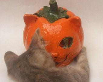 Halloween Pumpkin Lighting Ceramic Pumpkin Lighting Candle Holder Bold Orange