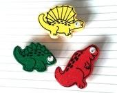 Vintage wooden dinosaur magnets refrigerator googly eyes kids COOL 1980s