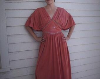 Grecian Goddess Dress Hippie 1970s Maxi Formal Gown Vintage 70s Pink Joy Stevens M S