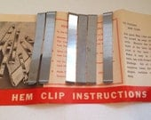 6 Vintage Metal Hem Clips and Instructions - Never Used