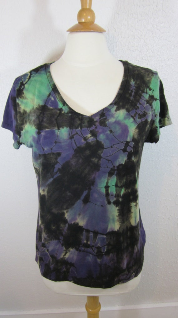 Tie Dye T shirt Green purple Black Womens Size Large