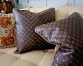 Vuitton Style Vinyl 20x20 Pillow Cover Velvet Best Made Pillow on the Web FAB!