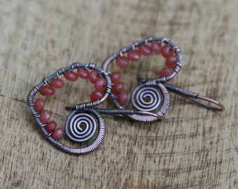 Be Mine earings-Bohemian, Boho,Vintage,oxidized metal,blue heart, valentines,blue , moonstone,pink carmine, assemblage,romantic,cute