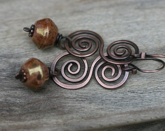 Rustic Solid Copper Swirls and Large Czech Glass beads pair n.1 /  simplistic artisan handmade , everyday wear , red metal , earthy organic