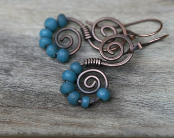 Rustic Solid Copper Swirled N.8 earrings- blue Indonesian Glass beads , danle,  simplistic  artisan handmade everyday wear , sky blue