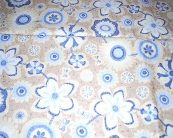 """LuLu blue flowers on tan - by free bird / legacy studio -  cotton Fabric -  44"""" wide - sold by the yard"""
