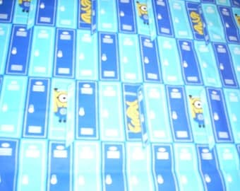 """Minions and Bananas in lockers cotton fabric -  44"""" wide - sold by the yard"""