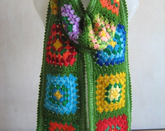 Granny square scarf, afghan crochet, warm, long, green, colorful shawl,lady gift, handmade,patchwork, winter, gorgeous,hippie style,bohemian