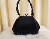 Vintage Olga Berg Small Black Fabric and Diamante Evening Bag Handbag Purse