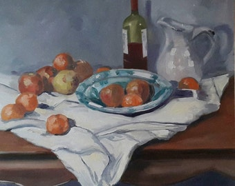 Oil Painting Stillife - Fruit Wine Water - Dutch Oil Painting - Netherlands Oil Painting - dressed Table - still life with bowl and cloth