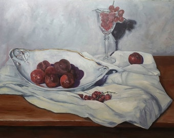 Oil Painting Stillife - Plums grapes wine - Dutch Oil Painting - Netherlands Oil Painting - dressed Table - still life grapes plums wine