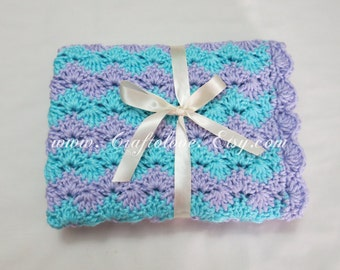 Crochet baby blanket-Baby Girl Blanket- Aqua/Lavender Shell Waves Stroller/Travel/Car seat blanket-Baby girl shower gift- Baby blanket