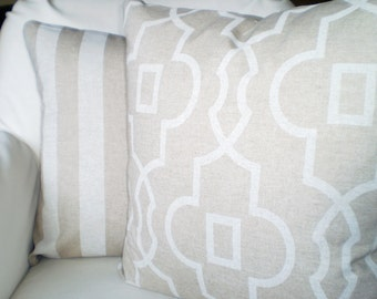 Tan Off White Pillow Covers, Decorative Throw Pillow Cushions Tan Off White Geometric Stripe Linen Look Tone on Tone Couch Two Various Sizes