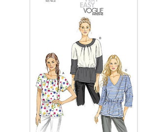 Sz 6/8/10/12/14 - Vogue Top Pattern V8880 - Misses' Pullover Top in Three Variations - Very Easy Vogue Pattern