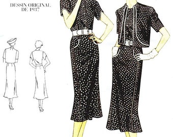 Sz 6/8/10 Vogue Original Design Pattern V2560 - Misses' Bolero and One-Piece Dress - 30's Dress Pattern