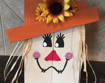 Wood Scarecrow with Sunflower - Fall Decor