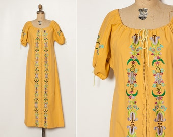 Vintage 1970s embroidered bohemian maxi dress mustard yellow