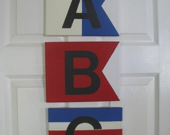 Nautical Signal Flag Signs on Canvas..With Black Letters