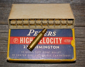 Vintage Peters High Velocity 222 Rifle Shell Box / Ammo Cartridge Box Plus Empty Brass