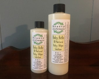 All Natural Baby Wipe Solution Concentrate Gentle Soothing for Reusable Cloth or Paper Towel Coconut Witch Hazel Aloe Cloth Diaper