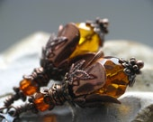 Bounty of the Bees II - Honey Colored Czech Glass Bead Earrings in Antiqued Copper