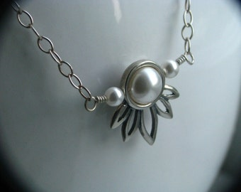 White Lotus Necklace - Sterling Silver and Swarovski Crystal Pearls