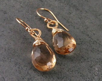 Champagne citrine earrings, handmade 14k gold filled gemstone earrings-OOAK