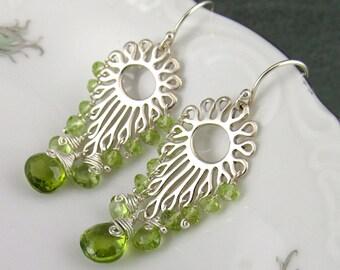 Peridot chandelier earrings in sterling silver, handmade OOAK jewelry