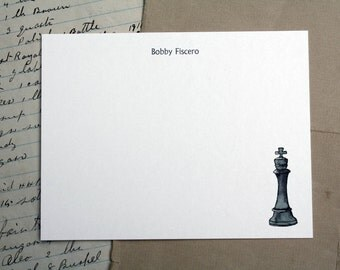 NEW! Chess Custom Notecard Stationery. King and Rook. Thank You, Any Occasion, Personalize Watercolor Print, Set of 10.