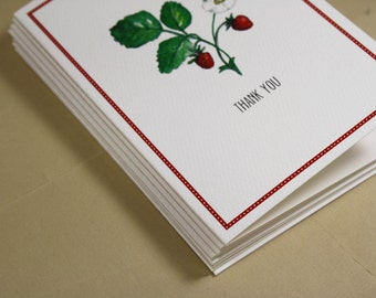 Cheerful Strawberry Notecards Stationery Thank You Notes, Handmade Thank You Notecards, Set of 8