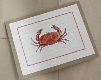 Crab Dungeness Rock Crab Beach Life Handmade Greeting Card, Bright Orange, Watercolor Print