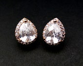 bridal wedding jewelry bridesmaid gift christmas party prom pageant earrings cubic zirconia teardrop pink rose gold stud post