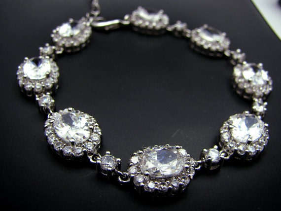 wedding jewelry bridal bracelet bridesmaid gift party christmas pageant pave halo rhodium Clear white oval cubic zirconia bracelet