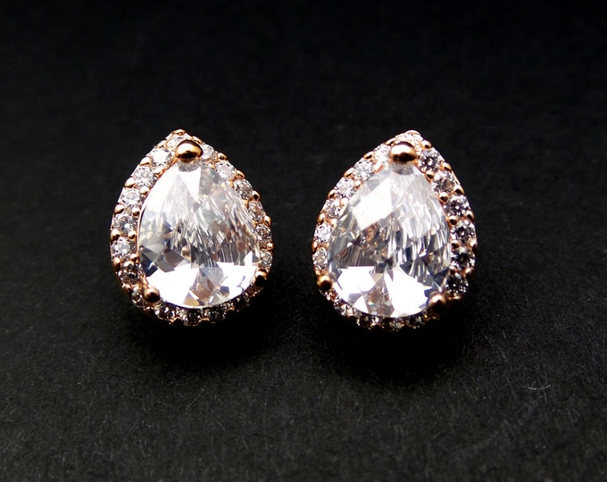 SALE multiple set of 4 5 6 7 8 pairs bridal wedding jewelry bridesmaid gift set earrings cubic zirconia teardrop pink rose gold stud post
