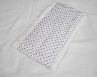 White and Purple Polka Dot Baby Burp Cloth