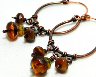Hoop Earrings, Antiqued Copper Jewelry, Honey and Mustard Glass, Wire Wrapped Earrings