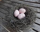 Handmade Bird Nest Shabby Pink Eggs Baby Room Decor Shower Gift