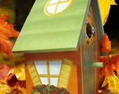 Orange Fall Hand Painted Birdhouse