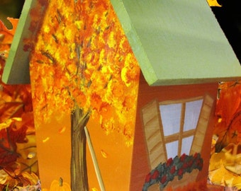 Fall Hand Painted Decorative Birdhouse